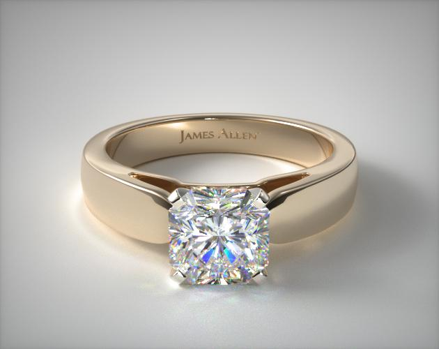 18K Yellow Gold 3.8mm Rounded Cathedral Solitaire Engagement Ring James Allen