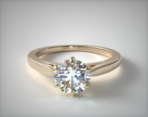 18K Yellow Gold Petite Flower Solitaire Engagement Ring James Allen