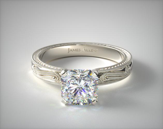 14K White Gold Engraved Solitaire Engagement Ring James Allen