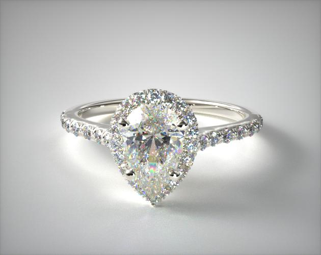 1.39 Carat D-VS1 Pear Shaped Diamond Pave Halo And Shank Diamond Engagement Ring (Pear Center) James Allen