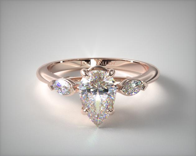 0.75 Carat D-VS2 Pear Shaped Diamond Marquise Shape Three Stone Ring James Allen