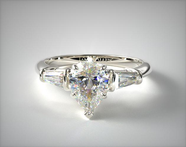 1.140 Carat D-VS2 Pear Shaped Diamond Tapered Baguette Diamond Engagement Ring James Allen