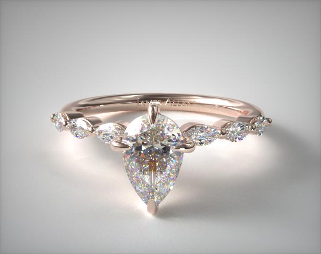 1.37 Carat D-VVS2 Pear Shaped Diamond Shared Prong Marquise Side Stone Diamond Engagement Ring Jaames Allen