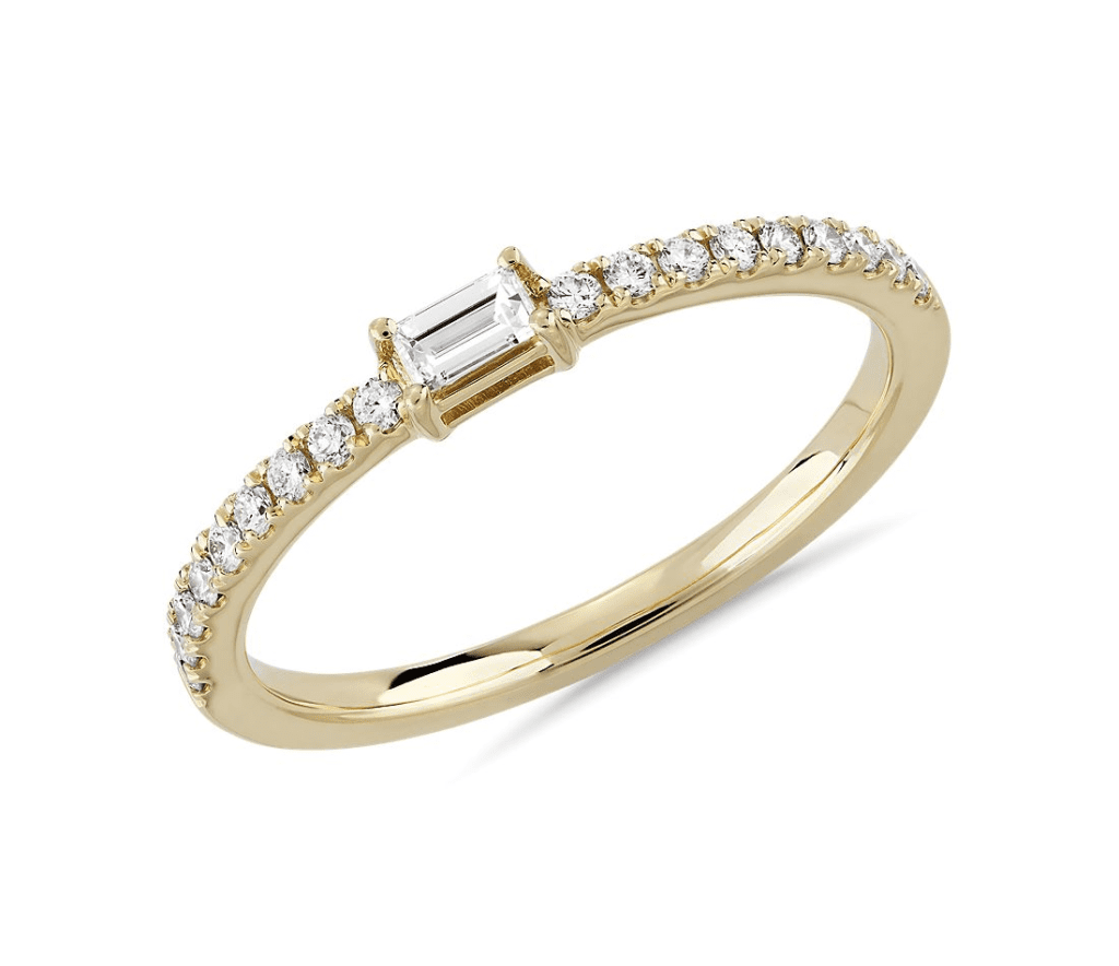 Diamond Pavé and Baguette Stacking Ring Blue Nile