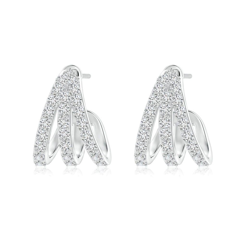 Diamond Trident Huggie Hoop Earrings Angara