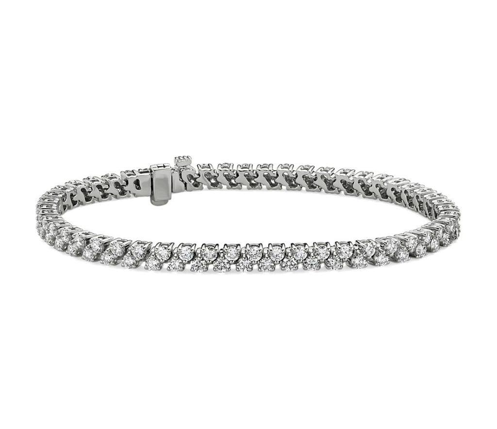 Double Row Diamond Tennis Bracelet in 14k White Gold (5 ct. tw.) Blue Nile