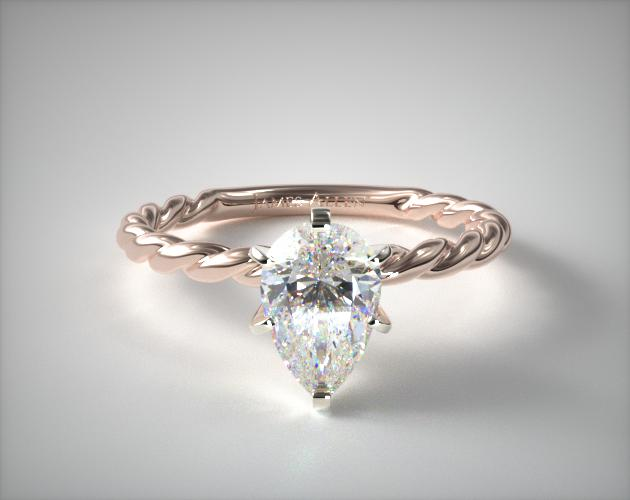 0.900 Carat E-I1 Pear Shaped Diamond Cable Solitaire Engagement Ring James Allen