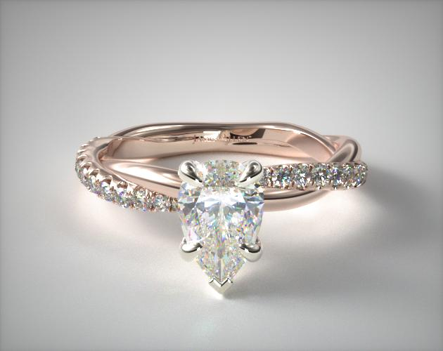 1.080 Carat E-VS1 Pear Shaped Diamond Pave Rope Engagement Ring James Allen
