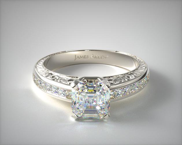 1.48.00 Carat E-VVS1 Asscher Cut Diamond Engraved Princess Shaped Diamond Engagement Ring James Allen