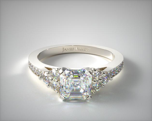 1.16 Carat E-VVS1 Asscher Cut Diamond Pave Trio Engagement Ring James Allen