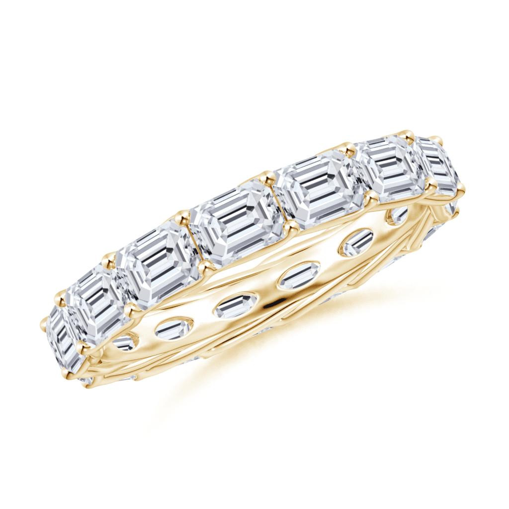 East-West Emerald-Cut Diamond Eternity Wedding Ring Angara