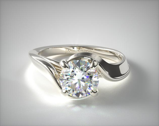 0.97 Carat E-VVS2 Excellent Cut Round Diamond Bypass Engagement Ring James Allen