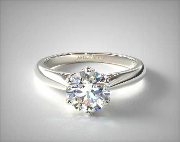 0.96 Carat D-VVS2 Excellent Cut Round Diamond Modern Tulip Diamond Engagement Ring James Allen