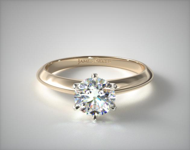 0.98 Carat E-VVS2 Excellent Cut Round Diamond Six Prong Knife Edged Solitaire Engagement Ring James Allen