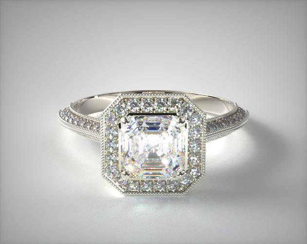 1.31 Carat F-VS2 Asscher Cut Diamond Octagon Halo Diamond Engagement Ring James Allen
