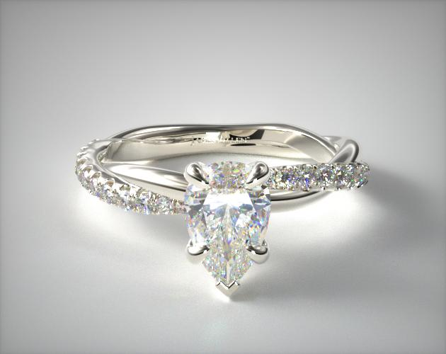 1.39 Carat F-VS2 Pear Shaped Diamond Pave Rope Engagement Ring James Allen