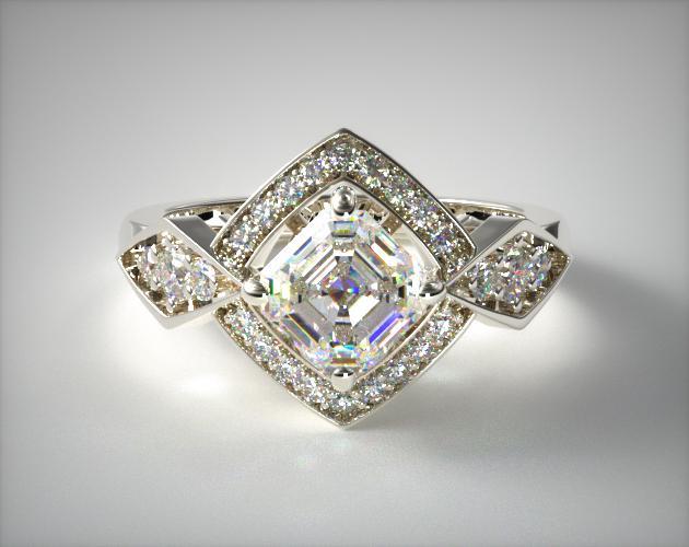 1.38 Carat F-VVS1 Asscher Cut Diamond Art Deco Geometric Diamond Engagement Ring James Allen