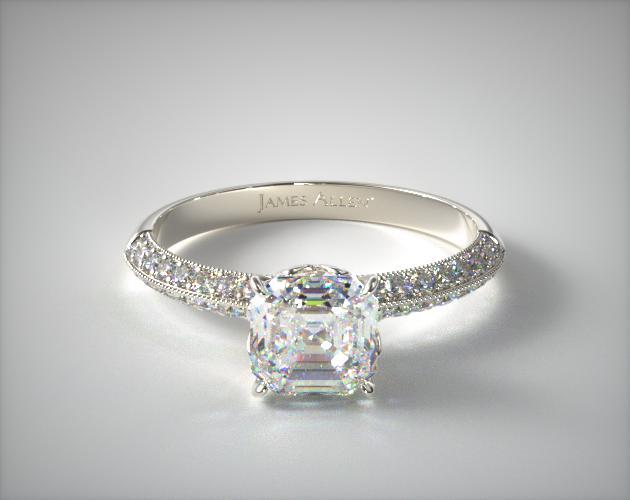 0.85 Carat G-IF Asscher Cut Diamond Pave Knife Edge Lotus Basket Engagement Ring James Allen