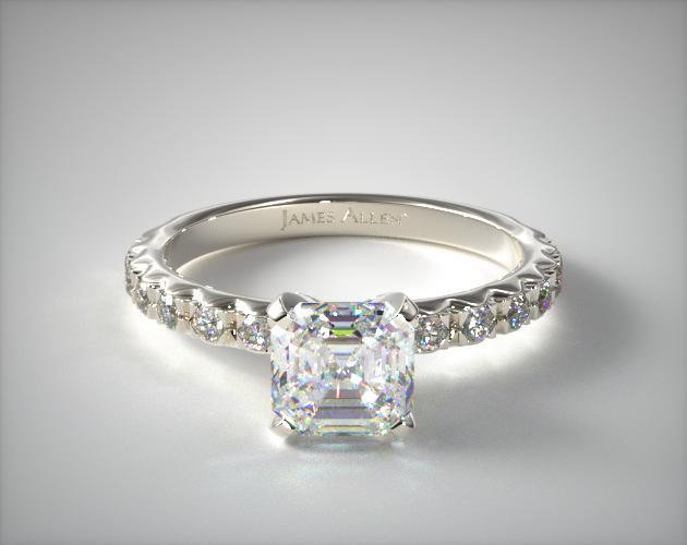 1.79 Carat G-VS1 Asscher Cut Diamond French Cut Pave Diamond Engagement Ring James Allen