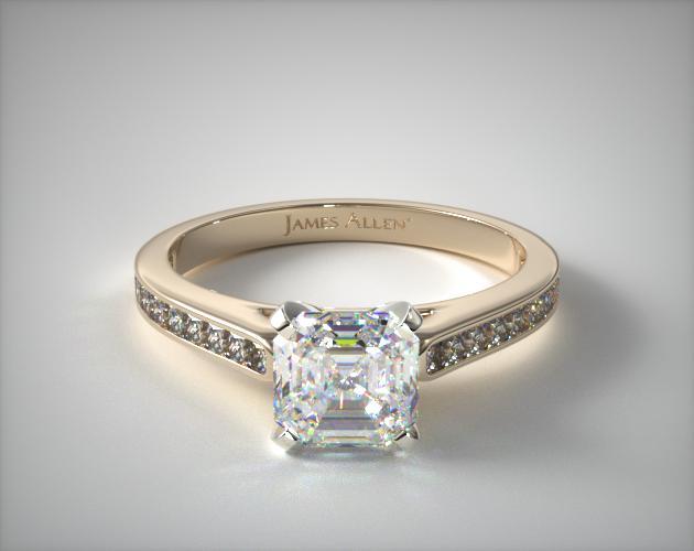 1.61 Carat G-VVS1 Asscher Cut Diamond Thin Channel Set Princess Shaped Diamond Engagement Ring James Allen