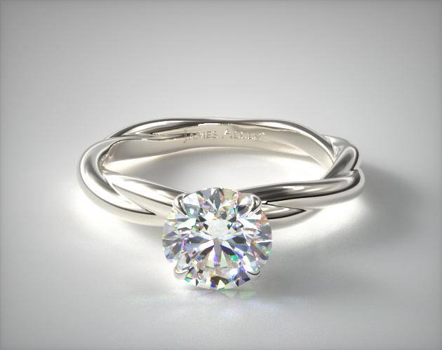 1.00.00 Carat G-VVS2 Excellent Cut Round Diamond Rope Solitaire Engagement Ring James Allen