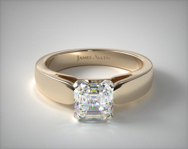 1.51 Carat H-VS1 Asscher Cut Diamond 3.8mm Rounded Cathedral Solitaire Engagement Ring James Allen