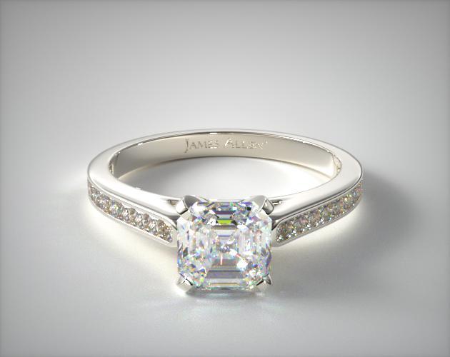 1.500 Carat H-VS1 Asscher Cut Diamond Thin Channel Set Princess Shaped Diamond Engagement Ring James Allen