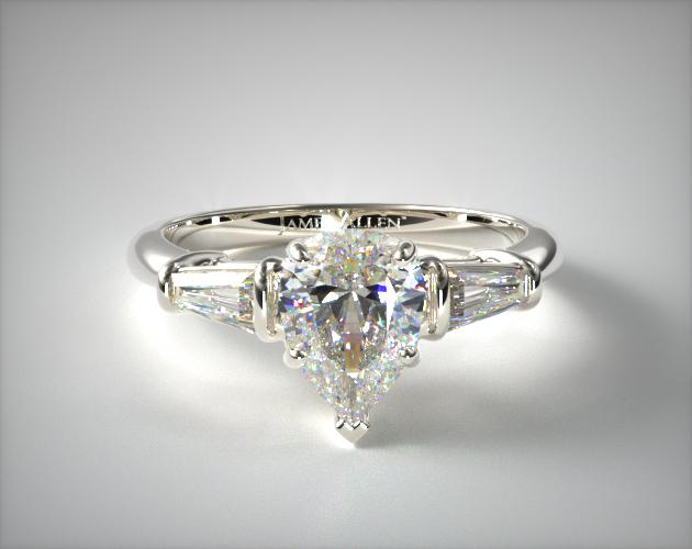 1.75 Carat H-VS2 Pear Shaped Diamond Tapered Baguette Diamond Engagement Ring James Allen