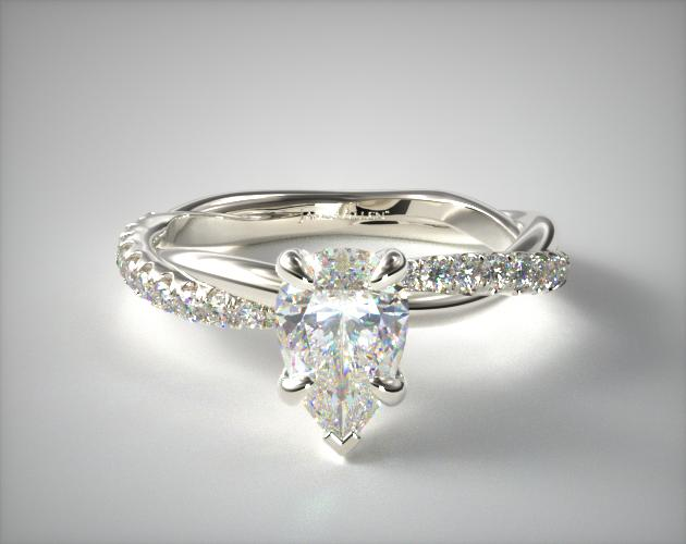 1.18.00 Carat H-VVS1 Pear Shaped Diamond Pave Rope Engagement Ring James Allen