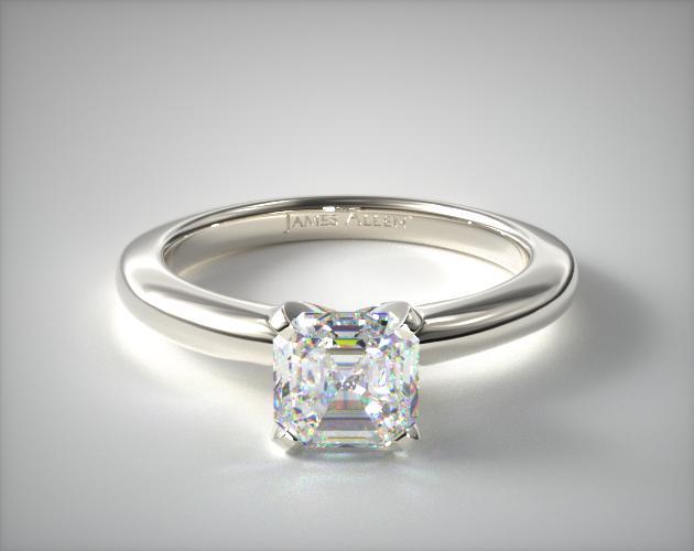 0.700 Carat H-VVS2 Asscher Cut Diamond 2mm Comfort Fit Solitaire Engagement Ring James Allen