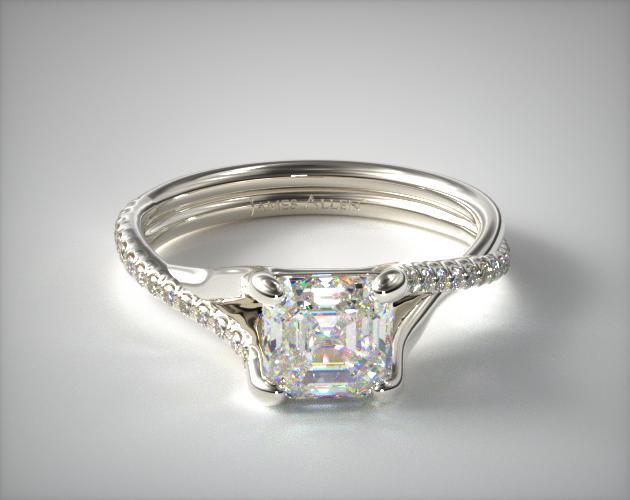 1.13 Carat H-VVS2 Asscher Cut Diamond Twisted Pave Shank Contemporary Diamond Engagement Ring James Allen
