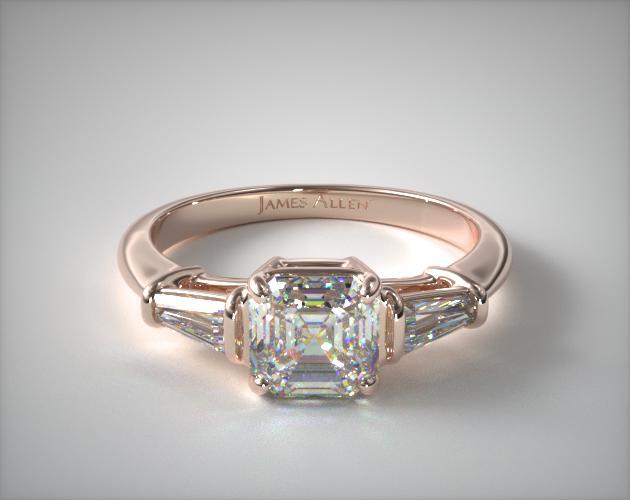 1.24.00 Carat I-VS2 Asscher Cut Diamond Tapered Baguette Diamond Engagement Ring James Allen