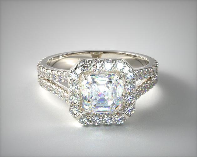 1.980 Carat I-VVS2 Asscher Cut Diamond Round Split Band Diamond Halo Engagement Ring James Allen