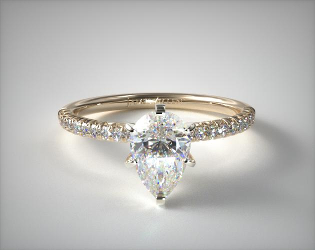 1.20 Carat D-VVS1 Pear Shaped Diamond Pave Halo And Shank Diamond Engagement Ring (Pear Center) James Allen