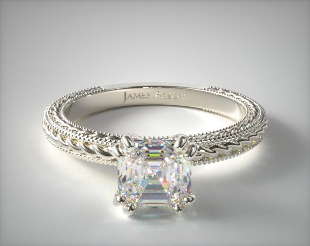 0.71 Carat J-VS1 Asscher Cut Diamond Etched Rope Solitaire Engagement Ring James Allen