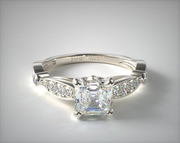 0.900 Carat J-VS2 Asscher Cut Diamond Embossed Diamond Engagement Ring James Allen