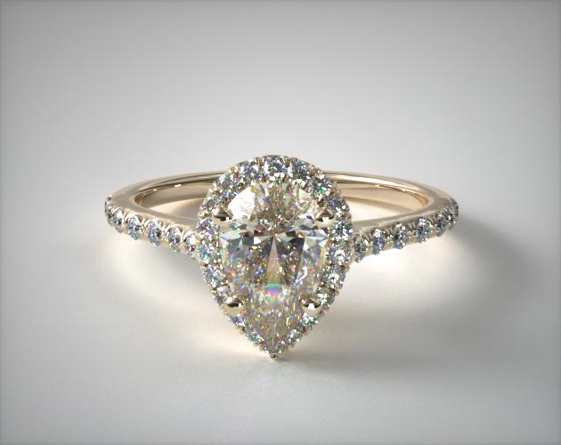 1.26.00 Carat K-SI2 Pear Shaped Diamond Pave Halo And Shank Diamond Engagement Ring (Pear Center) James Allen