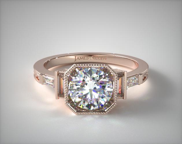 1.29 Carat K-VS2 Asscher Cut Diamond Engraved Basket Engagement Ring James Allen