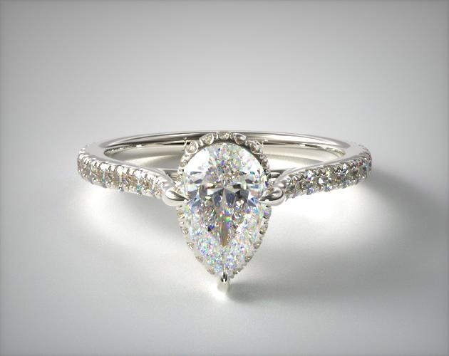 Lab-Created 1.45 Carat D-VVS2 Pear Shaped Diamond Cathedral Pave Crown Diamond Engagement Ring James Allen