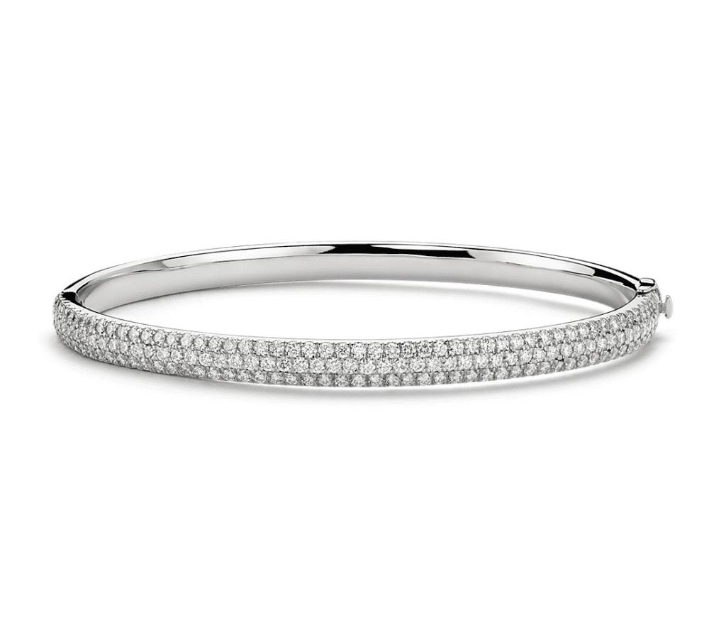 Lucille Diamond Rollover Bangle Bracelet in 18k White Gold (3.1 ct. tw.) Blue Nile