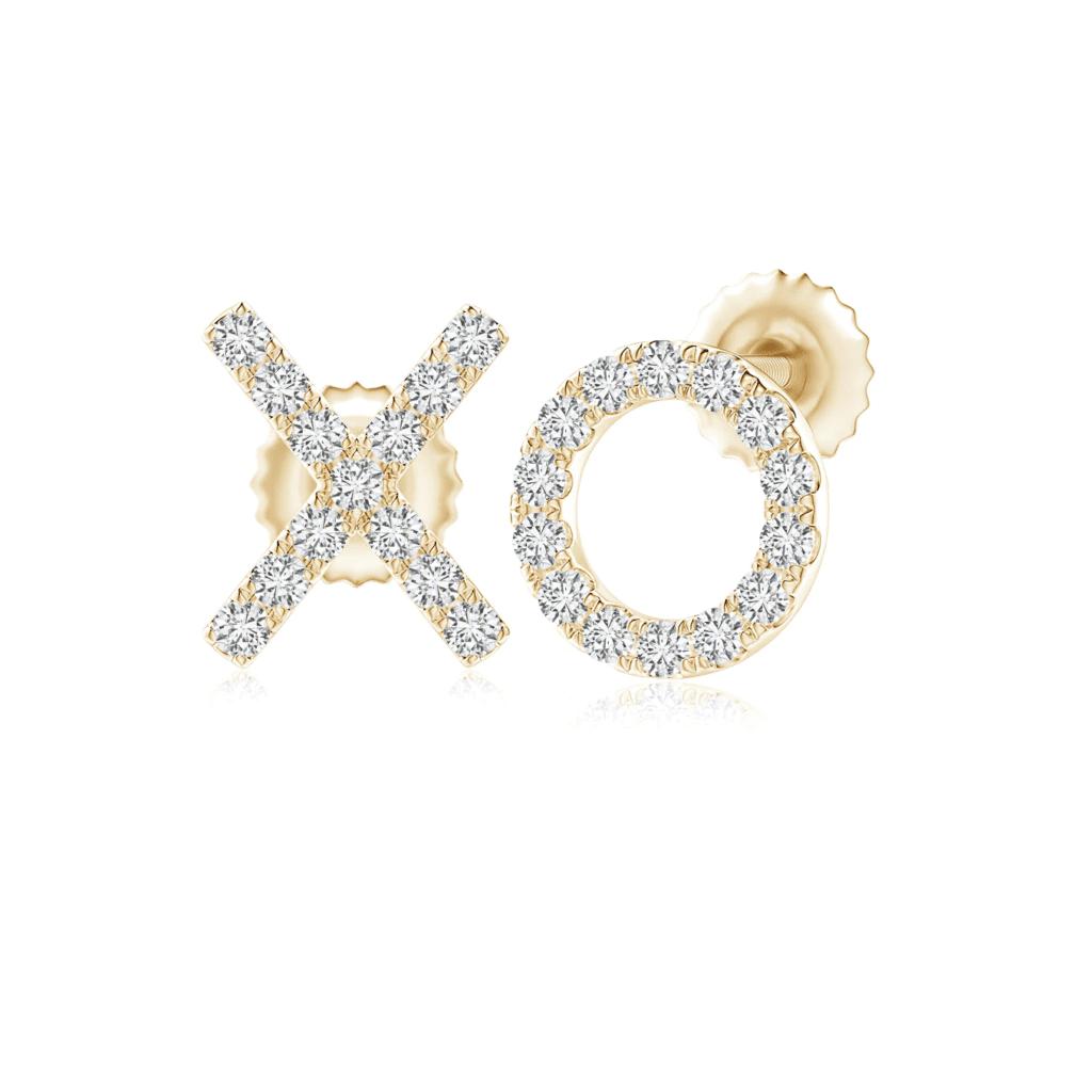 Pave-Set Diamond XO Stud Earrings Angara