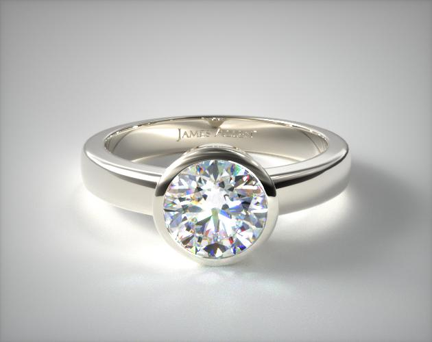 Platinum Bezel Set Round Shaped Diamond Solitaire Ring James Allen