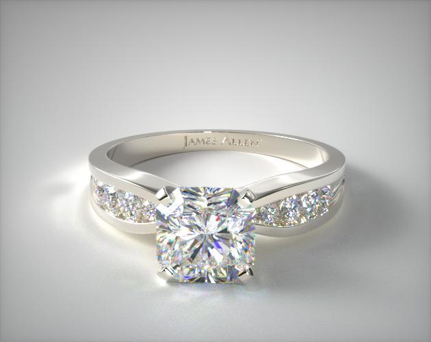 Platinum Bow-Tie Channel Set Diamond Engagement Ring James Allen