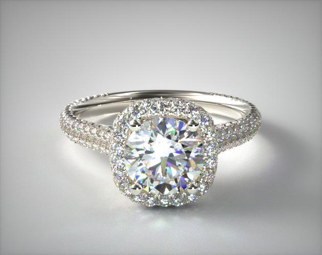 Platinum Grande Falling Edge Halo Engagement Ring James Allen