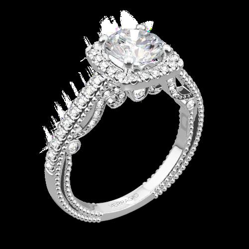 Platinum Verragio INS-7061CU Beaded Halo Diamond Engagement Ring White Flash