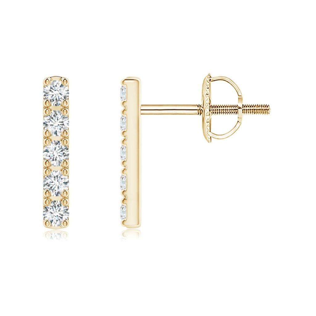Prong-Set Diamond Vertical Bar Stud Earrings Angara