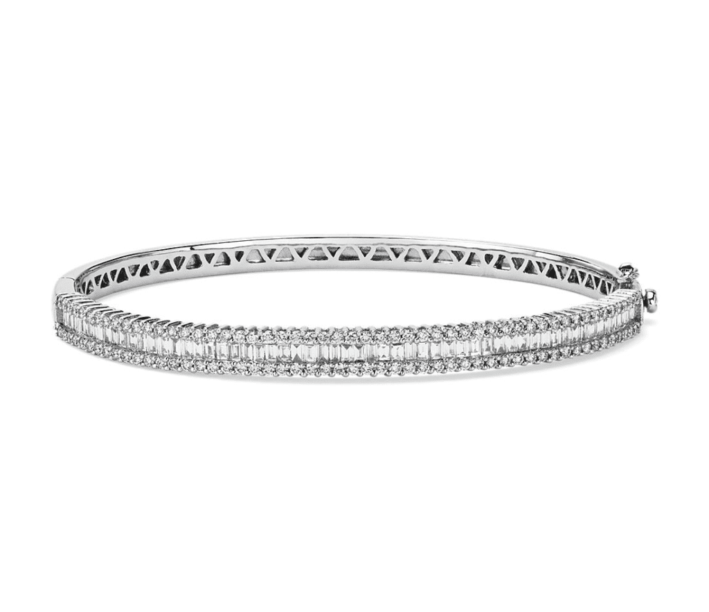 Round and Baguette Diamond Bangle in 14k White Gold (2 ct. tw.) Blue Nile