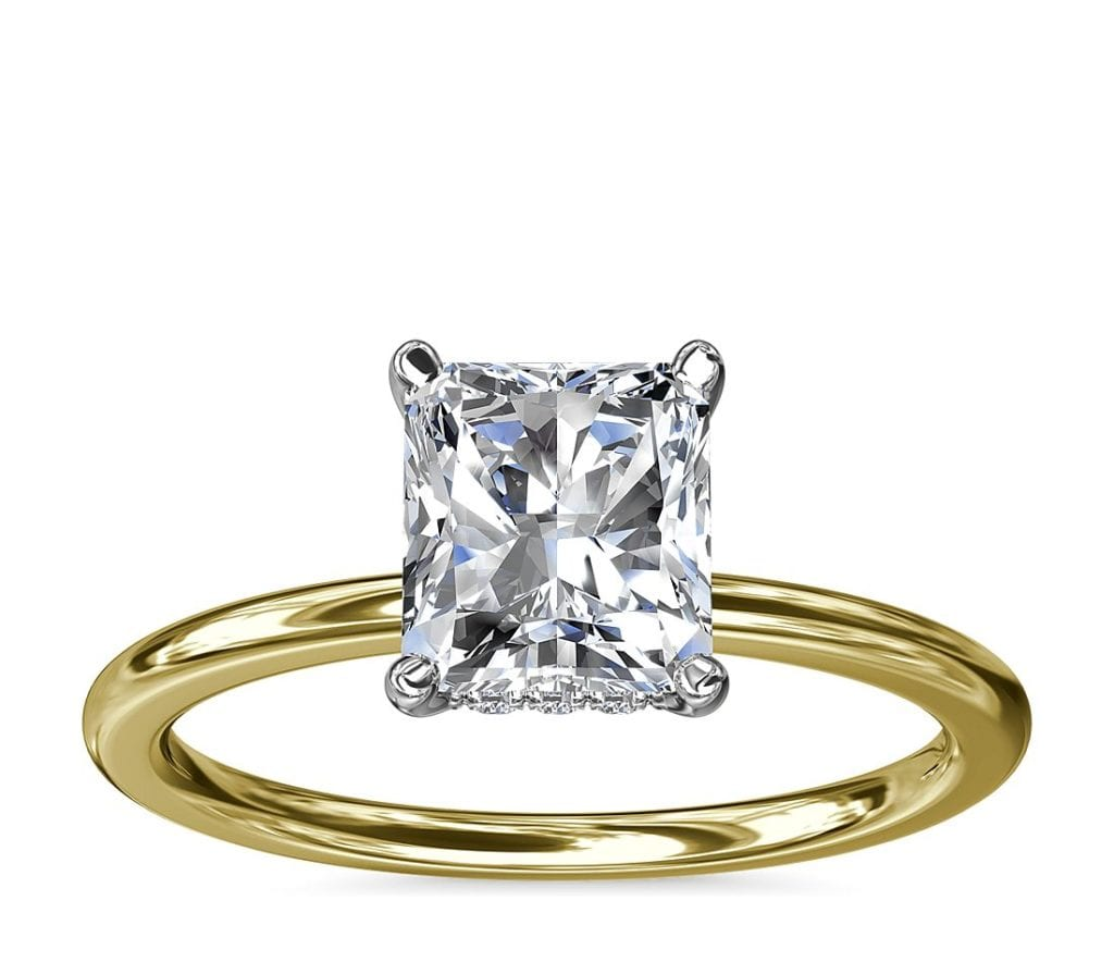 Solitaire Plus Hidden Halo Diamond Engagement Ring in 14k Yellow Gold and Platinum Blue Nile