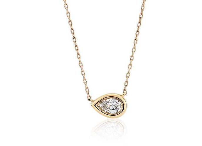 Bezel Set Pear-Shaped Diamond Pendant in 14k Yellow Gold (1/5 ct. tw.)