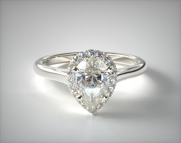 Lab-Created 0.92 Carat F-VS2 Pear Shaped Diamond Pave Halo Diamond Engagement Ring (Pear Center) James Allen